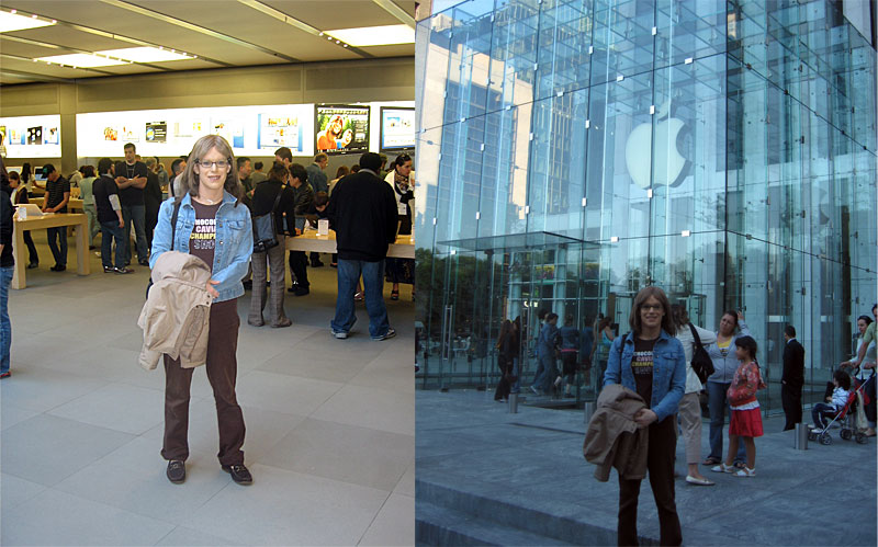 Alexandra outside the 5th Avenue Apple Store in New York City